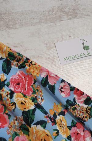 Nohavice Paula svetlomodré s kvetmi