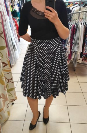 Tmavomodrá bodkovaná sukňa