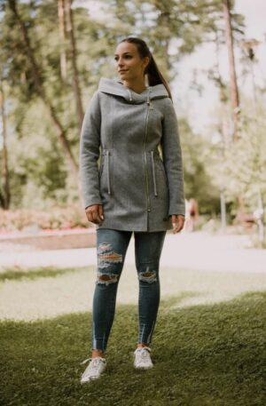 Kabát Júlia – svetlosivý