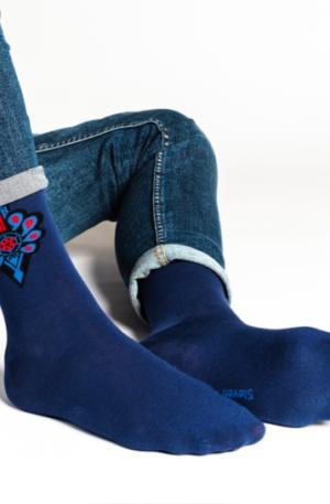 Pánske ponožky Folk modré – P 006