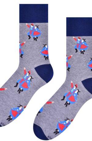 Pánske ponožky Folk sivé – P 009